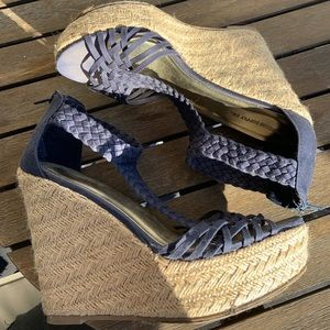 Mosso supply Co Navy Weaved Wedges